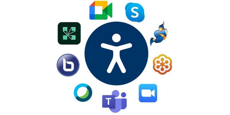 Das Zeichen für Barrierefreiheit in Form einer weißen Figur vor einem blauen Kreis. Die Logos der verschiedenen Videokonferenz-Programme umranden den blauen Kreis.