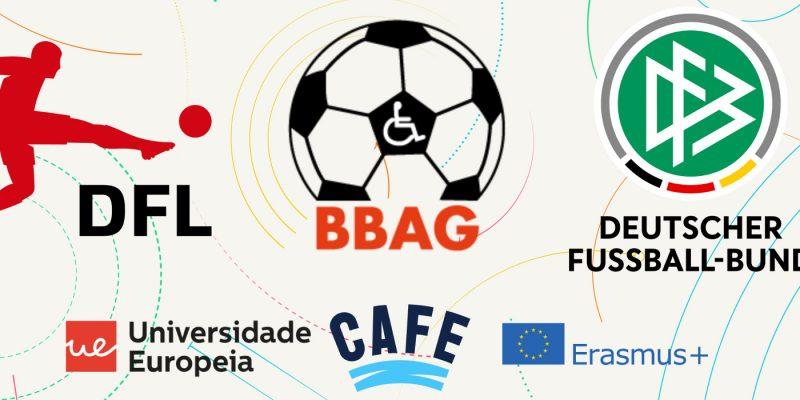 """Grafik mit 6 Logos: Oben die Logos von DFL, BBAG und DFB. Darunter die Logos der Universidade Europeia sowie von CAFE und Erasmus+."""""""